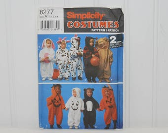 Vintage Simplicity 8277, Simplicity Costumes (c. 1993) Toddler Sizes 1/2-4, Easy Sewing Halloween Costumes, Cow, Pumpkin, Bunny, Ladybug