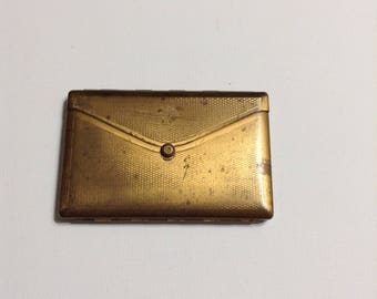 Gold tone purse or envelope type of compact, no maker's mark, mid-century.
