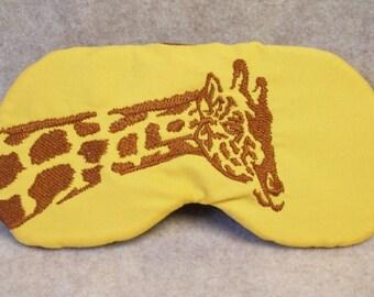 Embroidered Eye Mask, Sleeping, Cute Sleep Mask for Kids, Adults, Sleep Blindfold, Slumber Mask, Eye Shade, Giraffe Design, Travel Handmade