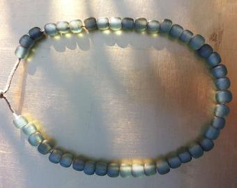 Sea Glass, Aqua, Turquoise Color Bead Necklace