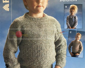 Child Guernsey Sweater 56-76cm 22-3in DK Patons 8048 Vintage Knitting Pattern PDF instant download
