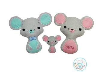 ITH Easy Mouse Toy Stuffie Softie Pattern Machine Embroidery File, in the hoop mouse, All hoop sizes, ITH Mice, Bow tie, Crafty Cuddles