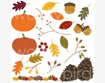Fall Clipart, Autumn Clip Art, Fall Leaves Clipart, Pumpkin Clipart, Pinecone Acorn Clipart, Fall Crafts, Thanksgiving Clipart, Scrapbooking