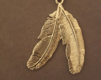 Sterling silver beaded feather necklace