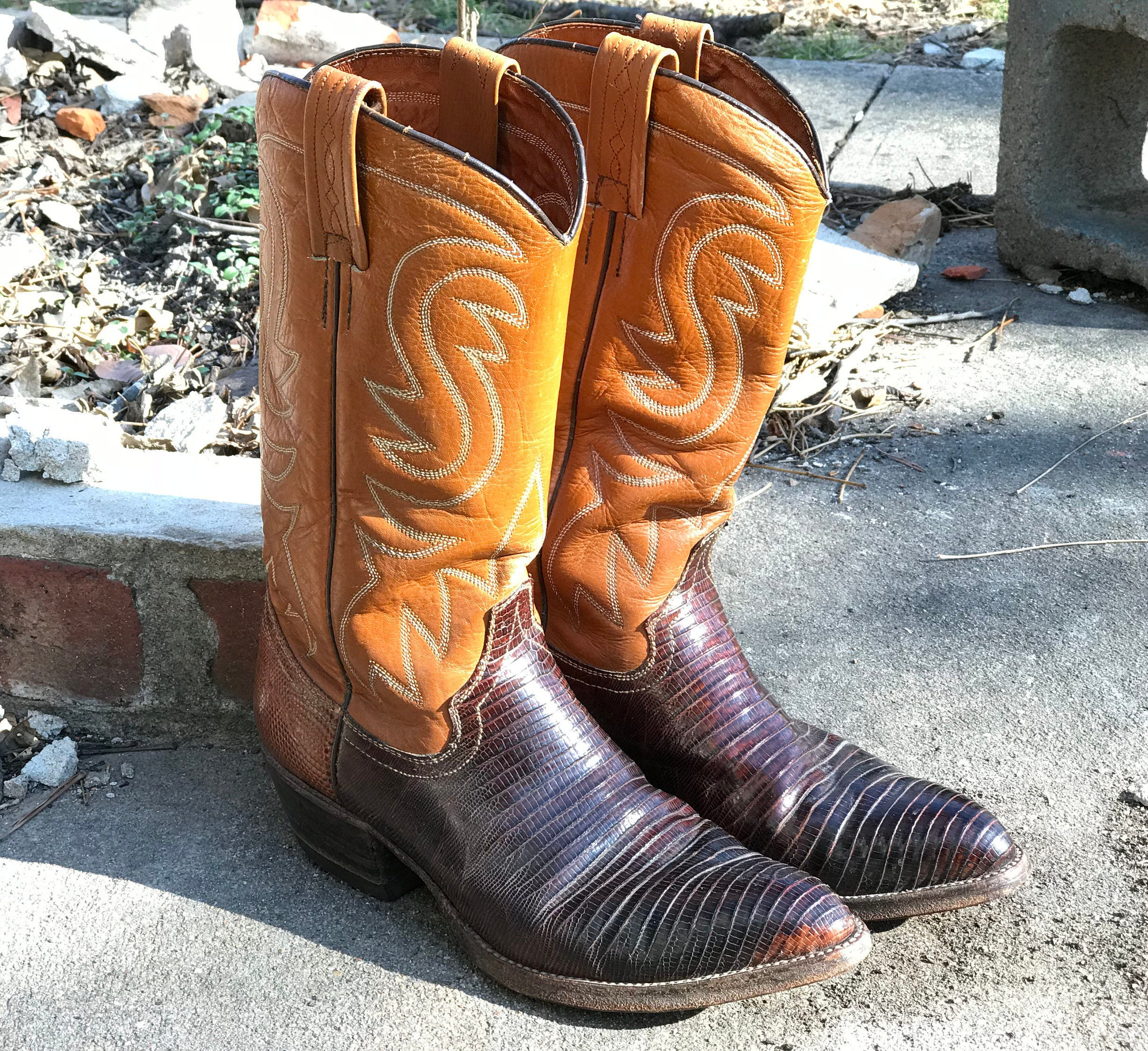 Wrangler Cowboy Cowgirl Boots/WB Masterson Special Edition/2  Tone Brown/Traditional Style/Pointed Toe/Mens 7 Womens 9/Western Wear/1960s 70