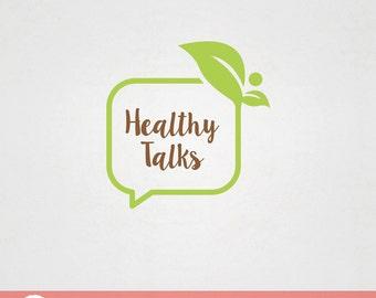 Custom Premade Food Logo Design - Healthy Talks Green Speak Bubble Leaf F003
