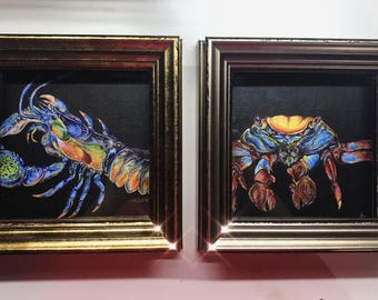The Crustacean Monarchy - gold framed painted crayfish, crab