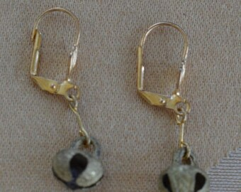 On sale Brass Jingle Bell Pierced Earrings, Christmas, Vintage (AH2)