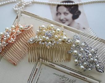 Rose Gold  Hair Comb , Bridal Hair Comb , Vintage Style Crystal Hair Comb, Art Deco headpiece, Bridal Headpiece, Wedding Hair Comb
