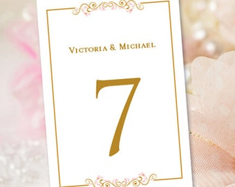 """Printable Wedding Table Numbers """"Madelyn"""" Blush Pink & Gold   Any Color Choice   Editable 4"""" x 6"""" Word.doc Instant Download   DIY You Print"""