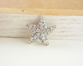 Starfish Crystal Silver Rhinestone Button (25mm, 1pc)