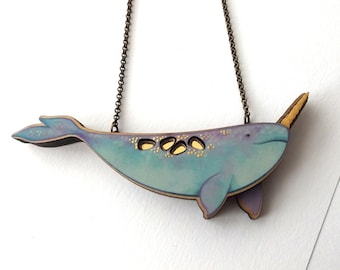 Laser Cut Pastel & Gold Narwhal Illustrated Statement Necklace - Mermaid Whale Sea Unicorn Narwhal Jewelry Gift Birch Please