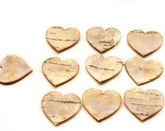 White Birch Bark Hearts,Wooden Heart, Rustic Heart,Birch Bark Heart,Wedding Heart Decoration,Heart Confetti,Natural Bark Heart,Large Birch