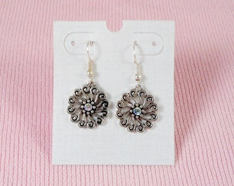 Silver Tone & AB Crystal Dangle Handmade Earrings