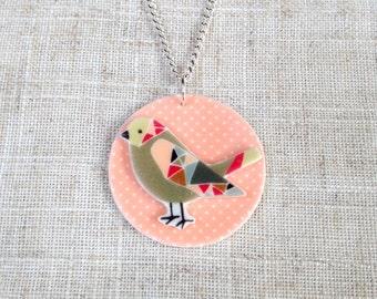 Bird necklace - Bird pendant - Bird gift - Bright necklace - Bird lover - Gift for her