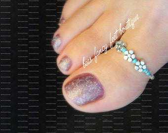 Big Toe Ring, Silver Flower Toe Ring, Violet Toe Ring, Turquoise Toe Ring, Toe Ring, Ring, Turquoise Beads, Stretch Bead Toe Ring