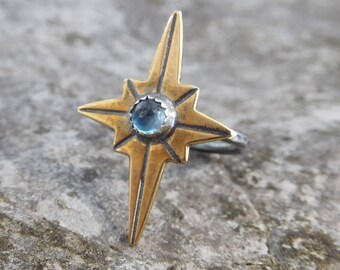 Star ring | North star rings | Star Midi finger ring | Boho ring | gemstone ring | small rings | Sterling silver band |