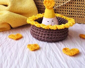 Sunflower Basket - Sunflower Bowl -  Crochet Basket - Plant Holder - Crochet Organizer - Key Holder - Rustic Home Decor - Mothers Day Gift