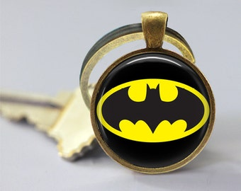 Batman Logo Symbol DC Glass Pendant, Photo Glass Necklace, Glass Keychain