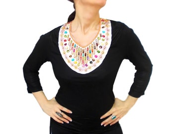 Beaded bib necklace ethnic collar necklace, tribal statement necklace, Boho Necklace, Beadwork, Beaded collar