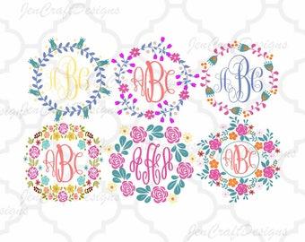Floral Flower Wreaths Monogram Frames Cuttable SVG, DXF, EPS, Png Silhouette Studio & Cricut Vector Art Vinyl Digital Cutting Cut Files