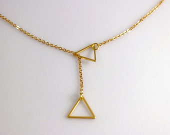 Gold, Rose Gold or Silver Double Triangle Necklace, Triangle Lariat Necklace, Strand Necklace, Geometric Jewelry, Double Triangle Necklace