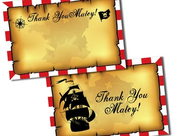 Vintage Pirate Thank You Cards, Pirate Party Thank You Cards, Pirate Notes, Pirate Thank You Card, Pirate Birthday, Pirate Thank you Notes