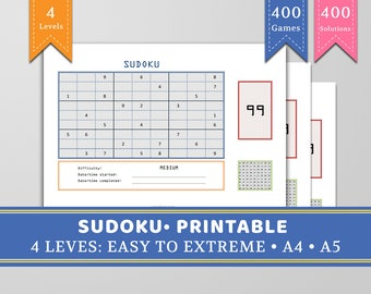 Sudoku - Printable - 400 games with solutions -A5, A4 - Colourful - 4 levels: Easy, Medium, Hard and Extreme