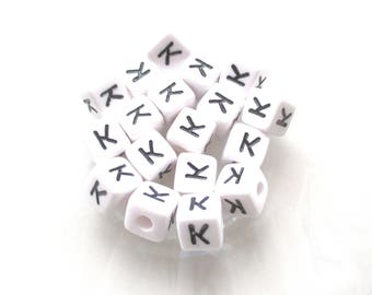 Alphabet beads 10 K acrylic 10 * 10mm