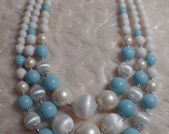 1950's Necklace with Baby Blue and White Beads