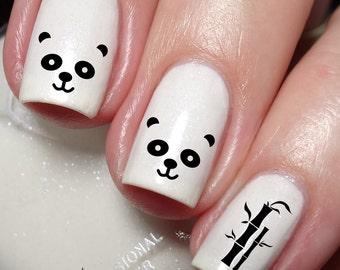 Panda Bamboo Nail Art Sticker Water Transfer Decal 040