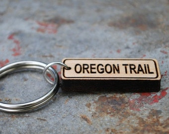 Wooden Oregon Trail KEYCHAIN or NECKLACE