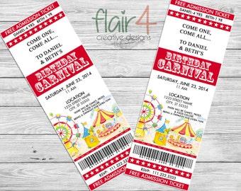 Printable Circus/Carnival Invitation - Circus/Carnival Birthday Invitation - Digital File (3x8.5)
