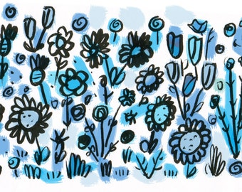 Blue Flowers/Autism Awareness/digital print/8.5x11