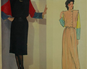 1980s Designer Dress Color Block by Chloe Vogue Paris Original Pattern 1100  Uncut   Size 10, 16