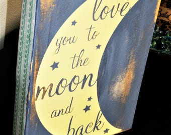 I love you to the Moon and Back, Wood Block Sign, Blocks with Quotes, Wood Block, Home Decor, Gift, Baby Shower Gift, Nursery Decor, Baby