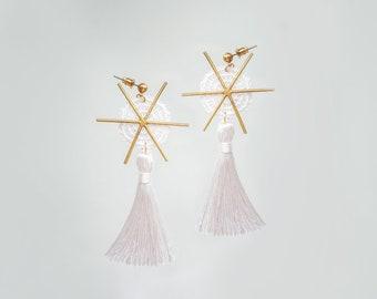 Tassel Earrings Geometrical Earrings Boho Earrings Gold Earrings Lace Earrings Gold Earrings/ PIETRA