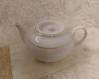 Vintage tea pot, white ironstone, classic tea pot, white and gold china, china tea pot, Afternoon Tea, classic 6 cup tea pot