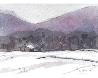 Barn Watercolor Print from an Original Landscape Painting by Laura Poss, 5 x 7 inches, Winter, Snow, Mountains, Farm, Four Seasons Series