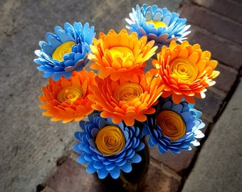 Paper Flower Bouquet - 8 Bright Orange and Baby Blue Daisies - Handmade Paper Flowers for Brides, Weddings, Showers, Birthdays, Mother's Day