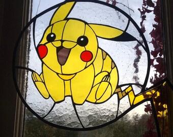 Pikachu inspired glass piece