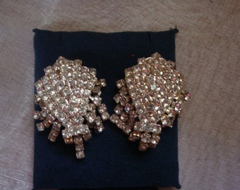 Vintage Large Estate Rhinestone Fringe Drop Earrings - Lots of Sparkle!