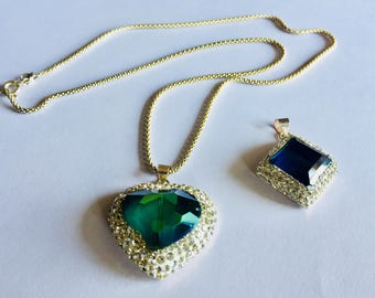 Silver Pendant. Swarovski crystal Heart green and stones