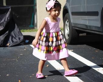 Baby Easter Dress, Girls Easter Dress, Multi color Baby Girls Dress,Baby pink Polka dot dress,Girls summer dress, Girls Spring Dress