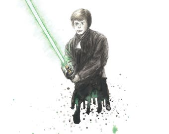 Luke Skywalker Star Wars Watercolor 8x10 Art Print