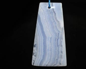 26x48x6mm Natural Blue Lace AGATE CHALCEDONY Lg Trapezoid Focal Pendant - J0948
