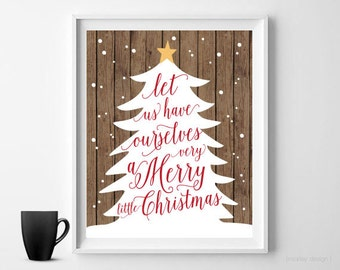 Rustic Christmas Print Christmas Wall Art Digital Print Christmas Decor  Holiday Decor Printable Christmas Tree Typography Wood Background