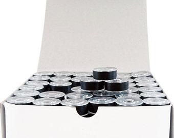 Black, Plastic Sided, L-Style Prewound Embroidery Bobbins - 144 Per Box