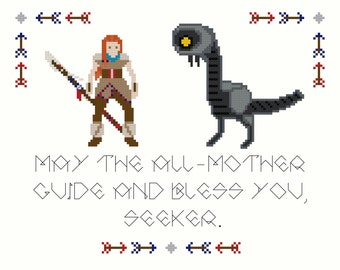 Horizon Zero Dawn Cross-Stitch Pattern (featuring Aloy & Watcher)