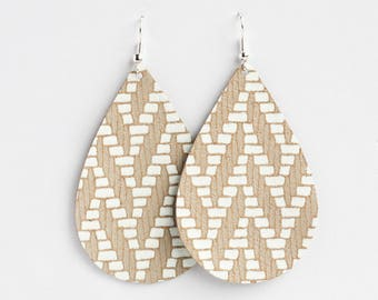 Aztec Leather Earrings, Leather Teardrop, Genuine Leather, Leather Teardrop, Trendy Earrings, Lightweight Earrings- WHITE AZTEC